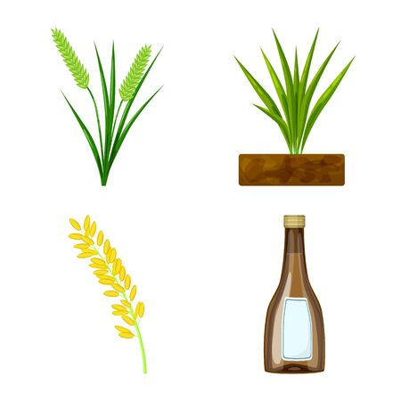Vector illustration of food and organic icon. Set of food and agricultural stock symbol for web. 일러스트