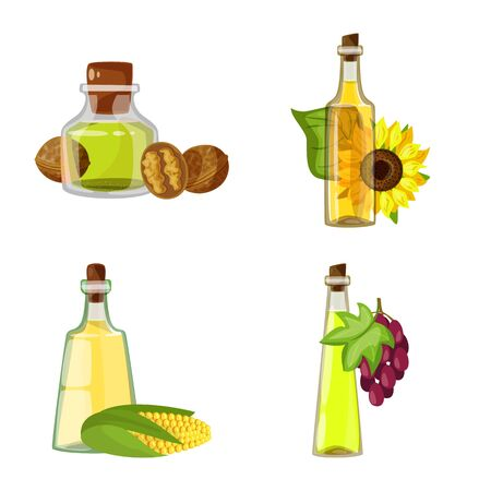 Vector illustration of bottle and glass icon. Collection of bottle and agriculture stock symbol for web.