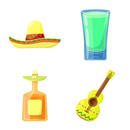Vector illustration of Mexico and tequila sign. Collection of Mexico and fiesta vector icon for stock. Stok Fotoğraf - 133404894