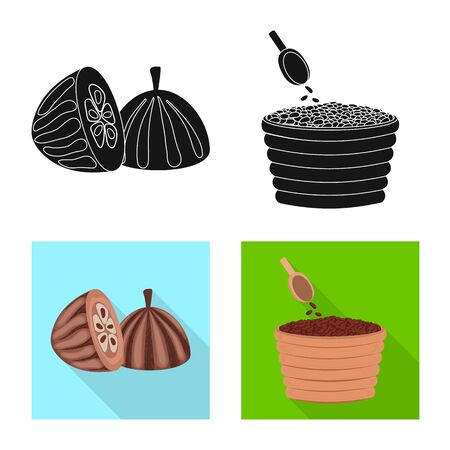 Vector illustration of food and yummy symbol. Collection of food and brown stock vector illustration. 일러스트