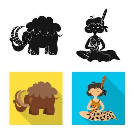 Vector illustration of evolution and prehistory symbol. Set of evolution and development vector icon for stock. Çizim