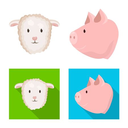 Vector design of agriculture and breeding symbol. Set of agriculture and organic vector icon for stock.