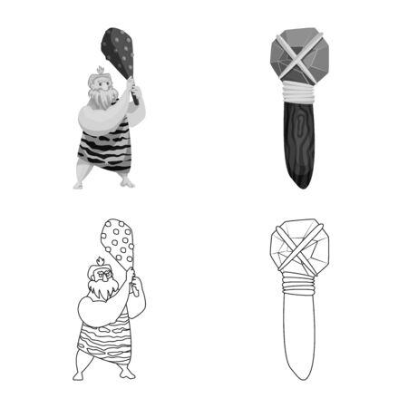 Vector illustration of evolution and prehistory logo. Set of evolution and development stock vector illustration.