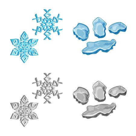 Vector design of texture and frozen logo. Set of texture and transparent stock symbol for web. Çizim