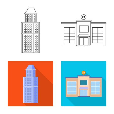 Vector design of municipal and center sign. Collection of municipal and estate stock symbol for web. Çizim