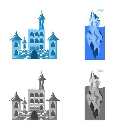 Vector design of texture and frozen symbol. Collection of texture and transparent stock symbol for web. Çizim
