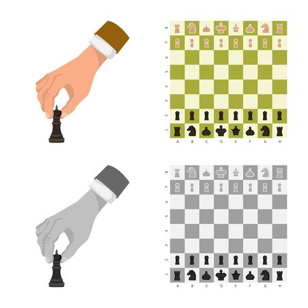 Isolated object of checkmate and thin symbol. Set of checkmate and target stock vector illustration.