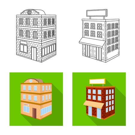 Isolated object of construction and building icon. Collection of construction and estate vector icon for stock. Ilustracja