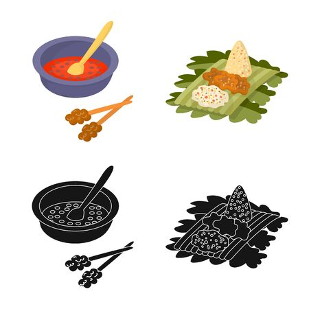 Vector design of and travel . Set of and traditional vector icon for stock. Çizim