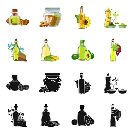 Isolated object of healthy and vegetable logo. Collection of healthy and agriculture vector icon for stock.