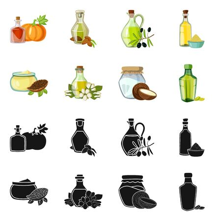 Vector illustration of healthy and vegetable icon. Set of healthy and agriculture stock symbol for web.
