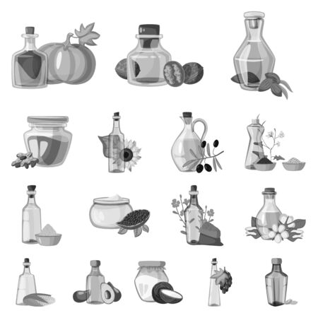 Vector design of nutrition and organics icon. Set of nutrition and glass stock symbol for web. Ilustração