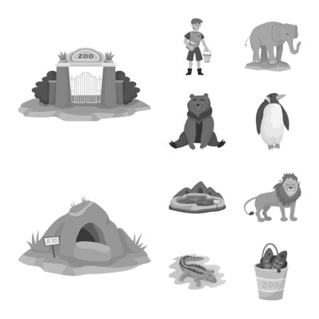 Isolated object of zoo and park sign. Set of zoo and animal stock vector illustration.