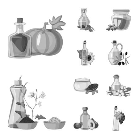 Isolated object of nutrition and organics sign. Set of nutrition and glass stock vector illustration.