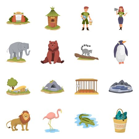 Vector design of zoo and park logo. Set of zoo and animal vector icon for stock. 일러스트