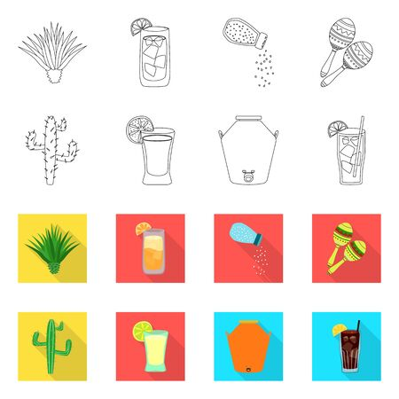 Vector design of cafe and Latin . Set of cafe and national vector icon for stock. Stok Fotoğraf - 133416131