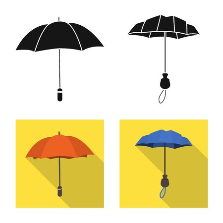 Vector illustration of protection and closed. Set of protection and rainy stock vector illustration.