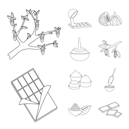 Vector illustration of cocoa and beans sign. Collection of cocoa and sweetness stock symbol for web.