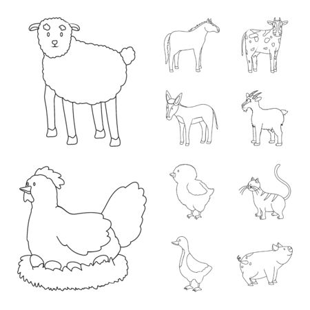 Vector design of homemade and countryside icon. Collection of homemade and agriculture stock symbol for web. Çizim