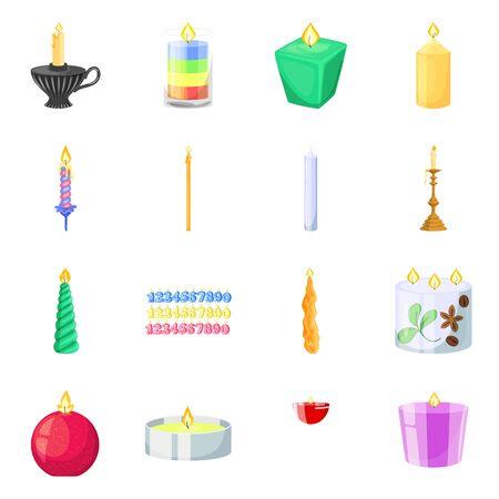 Vector illustration of light and wax symbol. Set of light and ceremony stock vector illustration. Иллюстрация