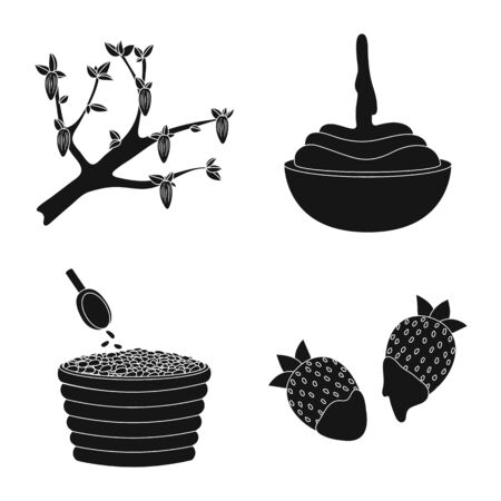 Vector design of cooking and brown symbol. Collection of cooking and beans vector icon for stock. 일러스트