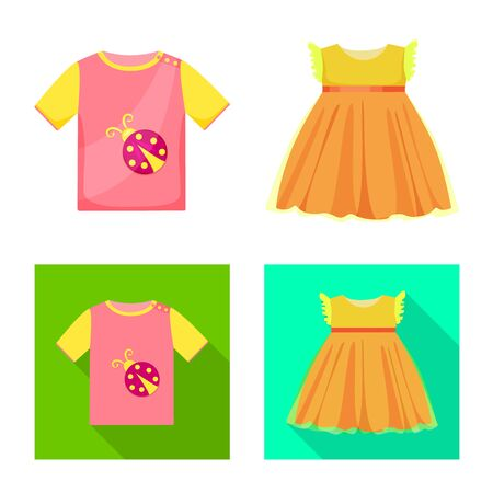 Vector design of fashion and garment sign. Collection of fashion and cotton stock vector illustration. Иллюстрация