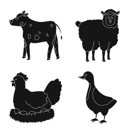 Vektordesign der Ranch und des organischen Zeichens. Satz von Ranch- und Lebensmittelvorrat-Vektorillustration. Vektorgrafik