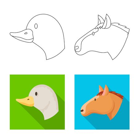 Vector design of agriculture and breeding icon. Set of agriculture and organic vector icon for stock. Çizim
