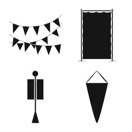 Vector design of material and media symbol. Collection of material and textile stock symbol for web. 일러스트
