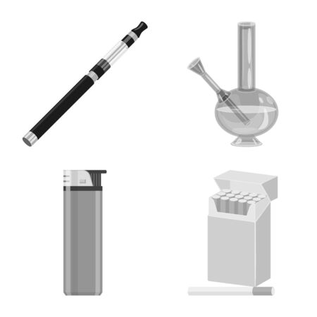 Vector design of health and nicotine. Set of health and statistics vector icon for stock.  イラスト・ベクター素材