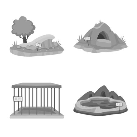 Vector illustration of zoo and park. Set of zoo and animal vector icon for stock.