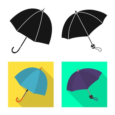 Isolated object of protection and closed. Set of protection and rainy vector icon for stock. Çizim