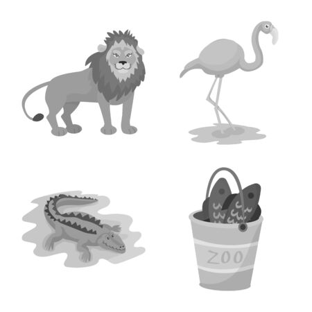 Isolated object of zoo and park sign. Set of zoo and animal stock symbol for web.  イラスト・ベクター素材