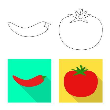 Isolated object of taste and product symbol. Collection of taste and cooking stock vector illustration. Ilustracja