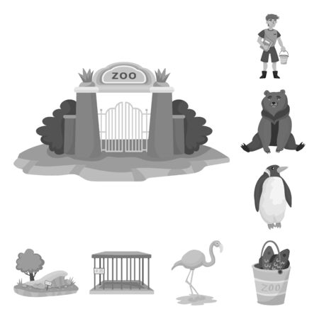 Isolated object of zoo and park sign. Set of zoo and animal stock symbol for web. Ilustracja
