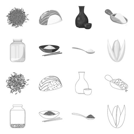 Isolated object of crop and ecological icon. Set of crop and cooking stock symbol for web. Illusztráció