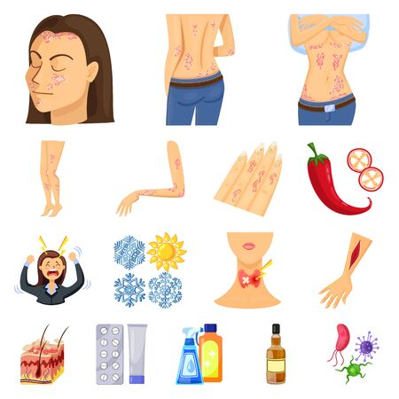 Vector illustration of pain and dermatology logo. Set of pain and healthcare stock symbol for web.