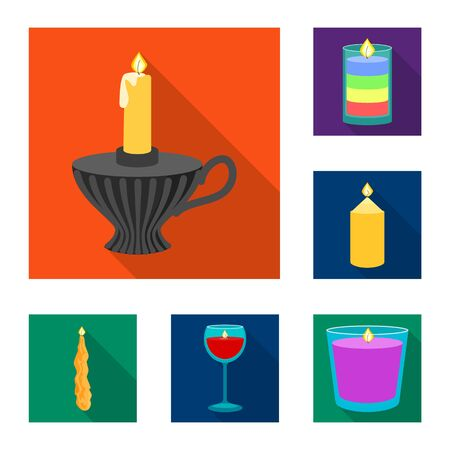 Isolated object of candlelight and decoration icon. Collection of candlelight and flame vector icon for stock.