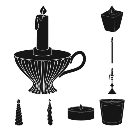 Isolated object of candlelight and decoration icon. Set of candlelight and wax stock symbol for web.