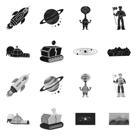 Vector illustration of astronomy and technology icon. Collection of astronomy and sky stock symbol for web.