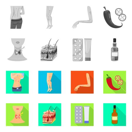 Vector design of medical and pain sign. Set of medical and disease vector icon for stock.