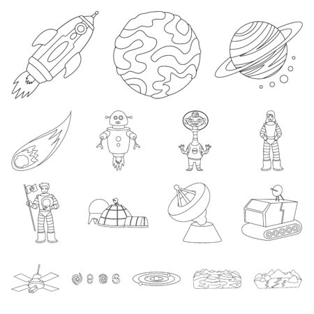 Vector design of space and galaxy sign. Set of space and travels stock vector illustration.