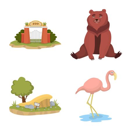 Vector design of zoo and park logo. Collection of zoo and animal stock symbol for web.