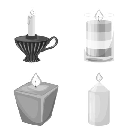 Isolated object of paraffin and fire sign. Collection of paraffin and decoration stock symbol for web.