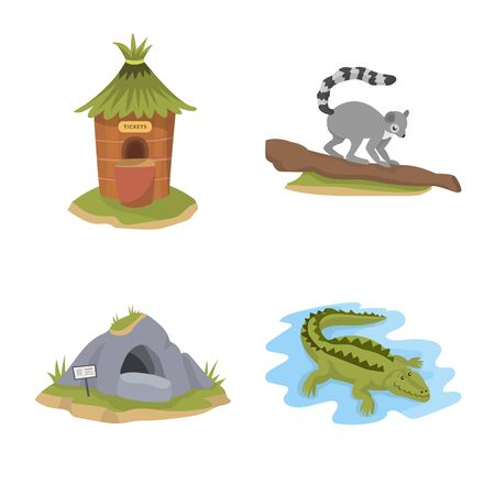 Isolated object of zoo and park logo. Set of zoo and animal stock vector illustration.