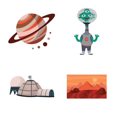 Isolated object of space and galaxy logo. Set of space and travels stock symbol for web.
