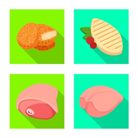 Vector illustration of product and poultry symbol. Collection of product and agriculture stock symbol for web.