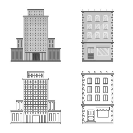 Isolated object of municipal and center icon. Collection of municipal and estate stock vector illustration. Illusztráció