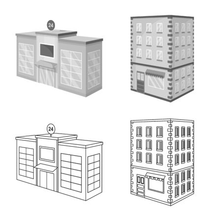 Vector illustration of construction and building icon. Set of construction and estate stock symbol for web. Standard-Bild - 133989051
