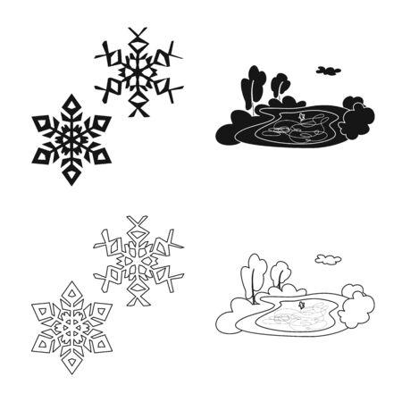 Vector illustration of texture and frozen logo. Collection of texture and transparent stock vector illustration. Archivio Fotografico - 133989166